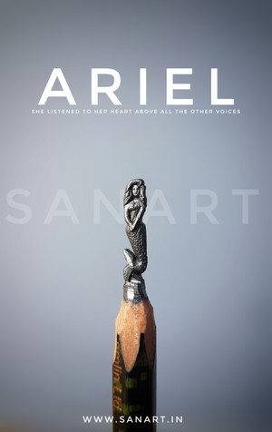 ARIEL MERMAID     -MINIATURE pencil carving on lead