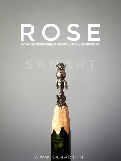 ROSE     - pencil carving on lead