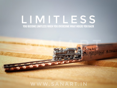 LIMITLESS    -pencil art carving on a miniature graphite lead