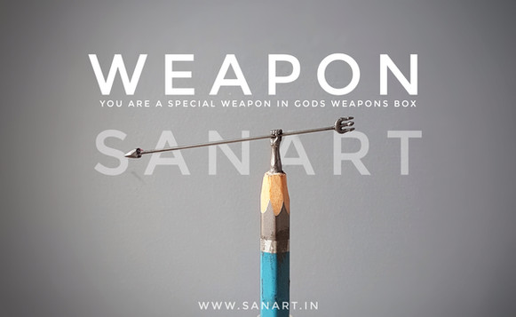 WEAPON ANCIENT ART WORLD FAMOUS  pencil carving on lead