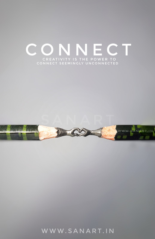 CONNECT HEART      -pencil carving on lead