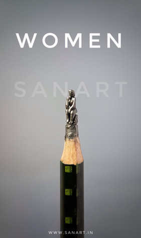 WOMEN ART   -pencil carving on lead