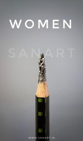 WOMEN ART   -pencil carving on lead