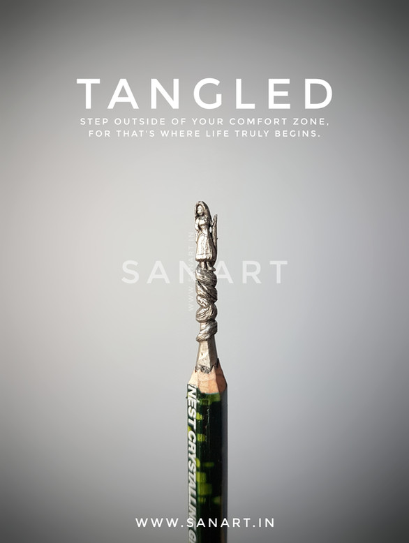 TANGLED RUPANZEL        -pencil carving on lead