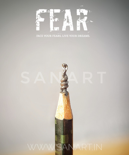 FEAR     -miniature carving gift art on pencil lead