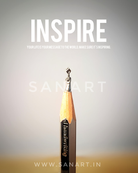 INSPIRE   -miniature carving gift art on pencil lead