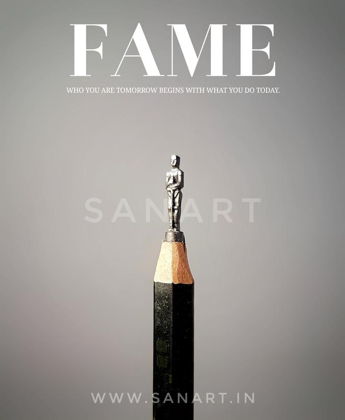 FAME  -MINIATURE ART GIFT ON PENCIL LEAD
