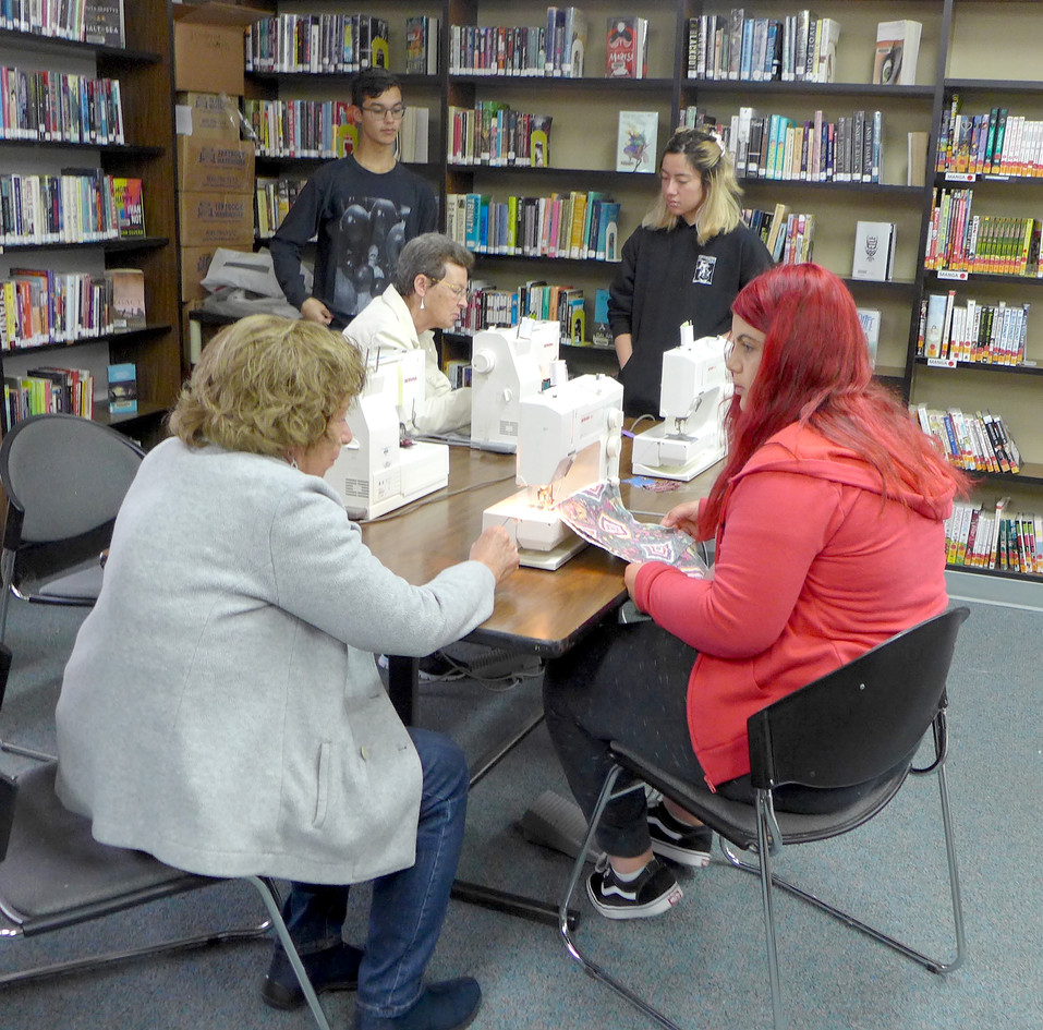 High school students learn to sew during Study Hall