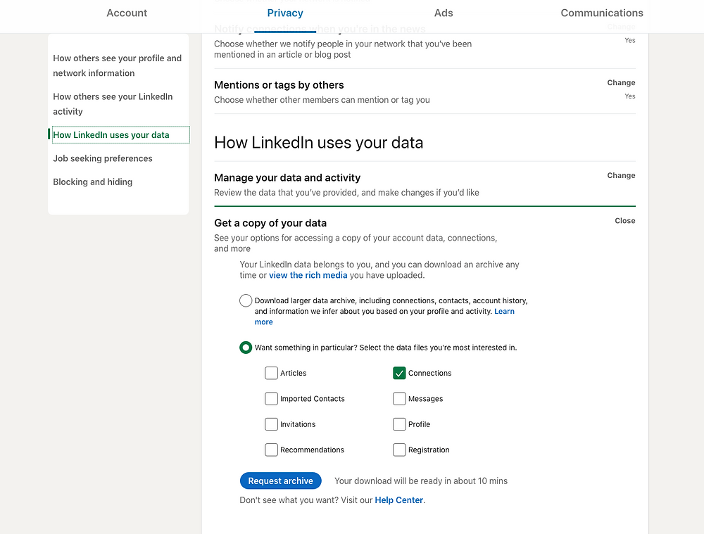 download your linkedin contacts