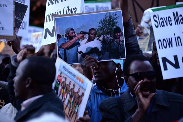 Image result for Libyan protest against slave