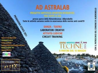 """ALBEROBELLO - """"Ad Astralab"""", il progetto di Techné per riprendere l'attività motoria"""