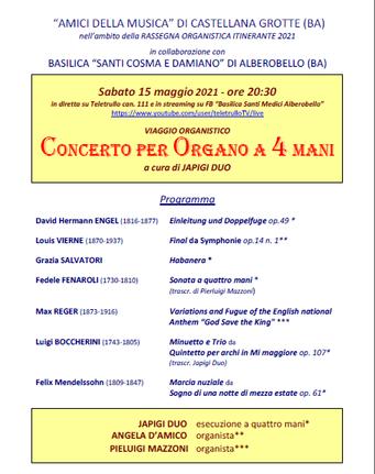 CASTELLANA GROTTE - Concerto per organo a 4 mani