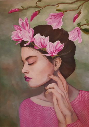 Girl with magnolias