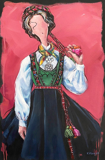Woman from Tinn in Telemark wearing traditional costume