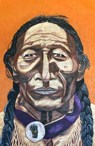 Native America with orange Background
