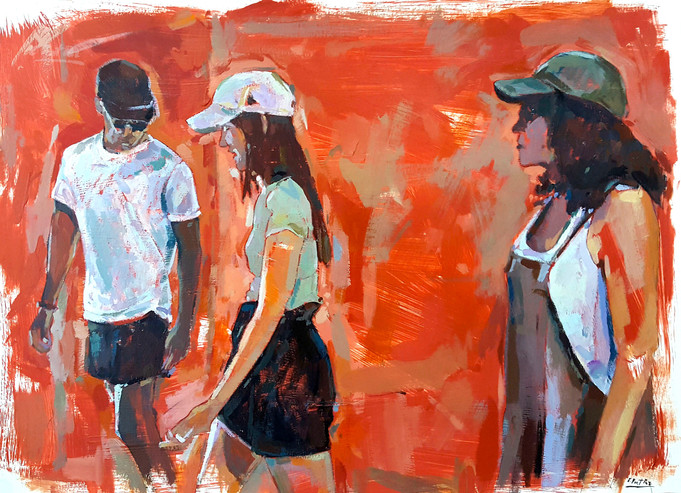 Three figures on red background
