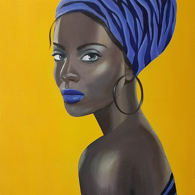 Young woman in blue headscarf