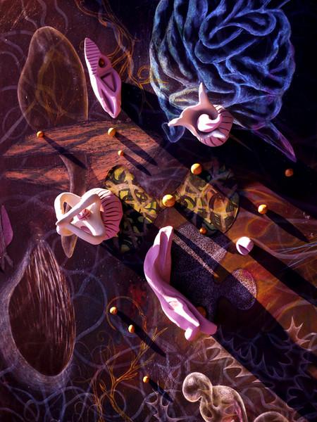 Night garden dance of erotic fantasies