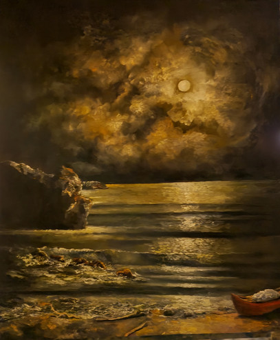 Boat At The Moon Light