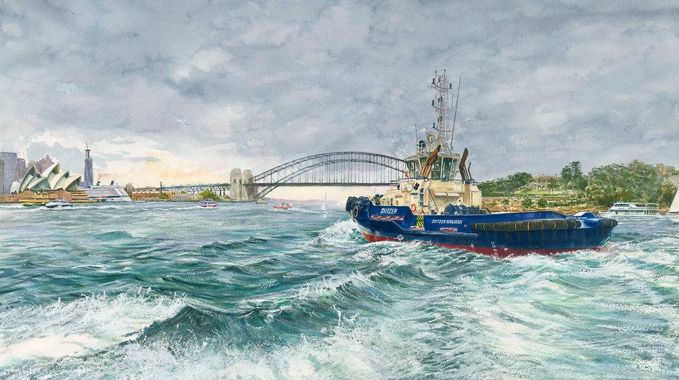 Heading in: Svitzer Tug Waratah on Sydney Harbour