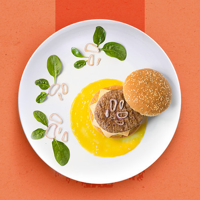 PIEDMONT HAMBURGER WITH MANGO SAUCE AND CARAMELIZED ONIONS