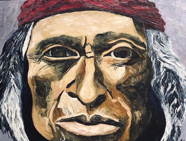 Native America with red bandana