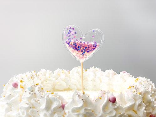 Pink & Purple chunky glitter heart cake topper