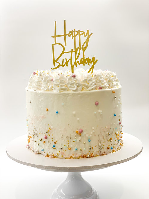 Happy Birthday cut to shape acrylic cake topper