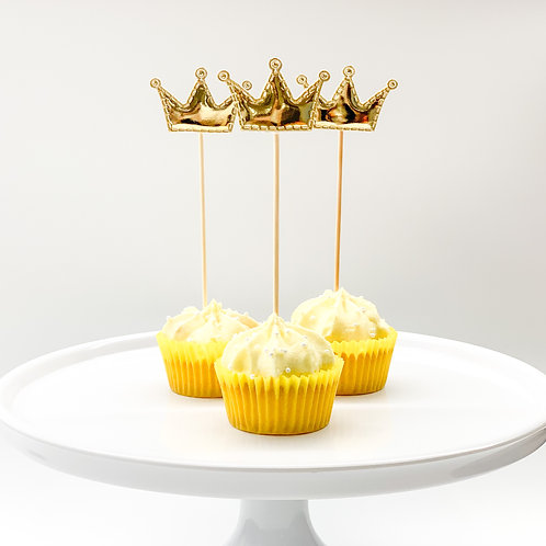 Gold crown cupcake toppers 5pcs