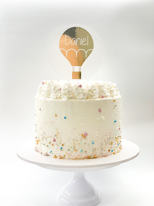 Personalised name Hot air balloon cake topper