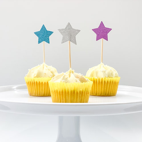 Mixed colours stars cupcake toppers
