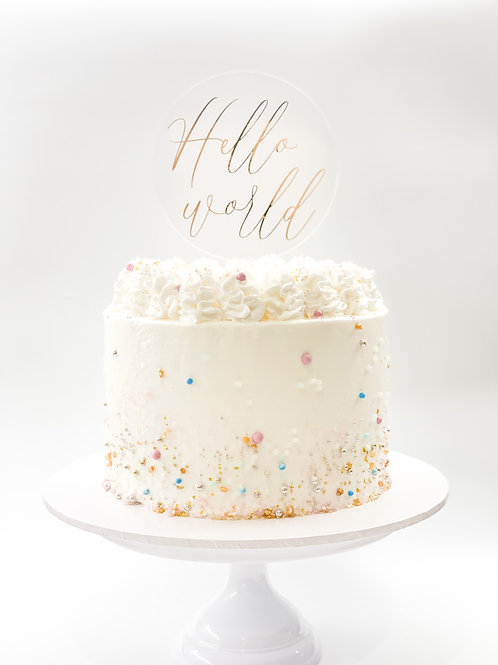Hello World baby cake topper