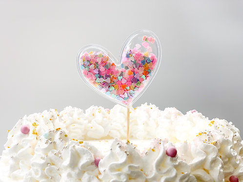 Mixed colours heart cake topper