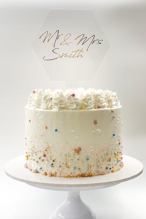 Mr & Mrs Personalised large cake topper - Wedding cake