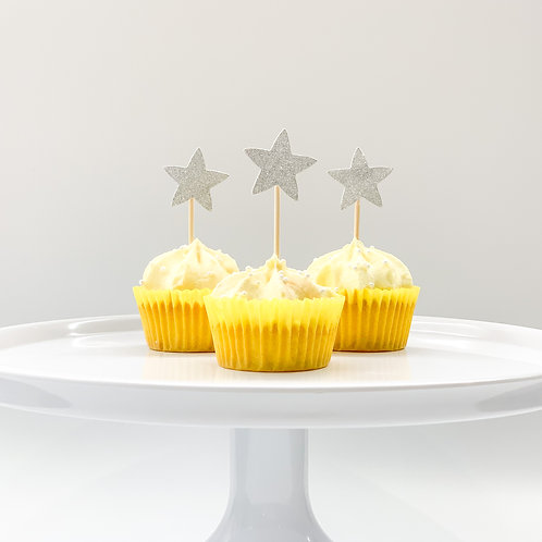 Silver glitter stars cupcake toppers