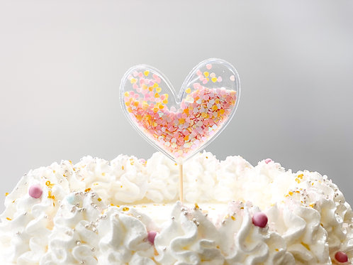 Pink & Orange chunky glitter heart cake topper