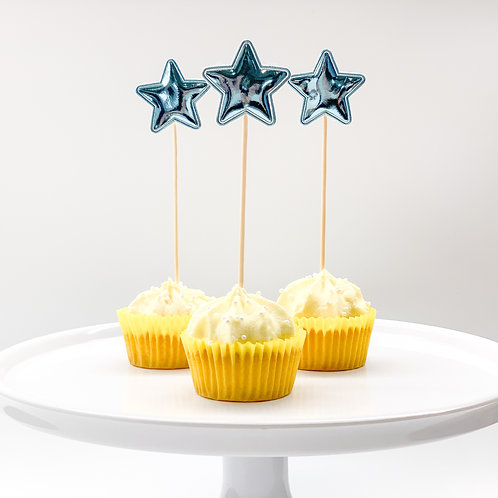 Blue star cupcake toppers