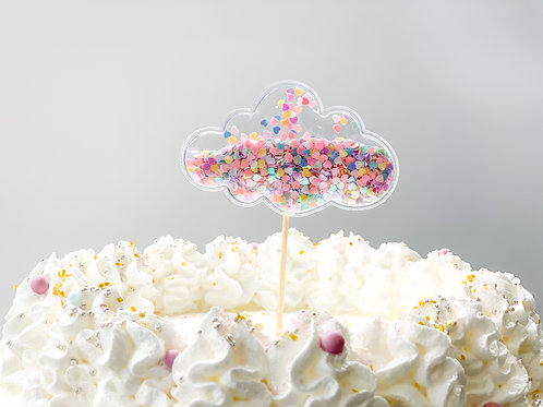 Mixed colour chunky glitter cloud cake topper