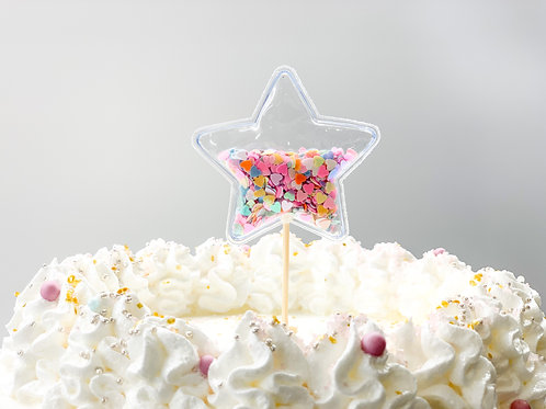 Mixed colour chunky glitter star cake topper