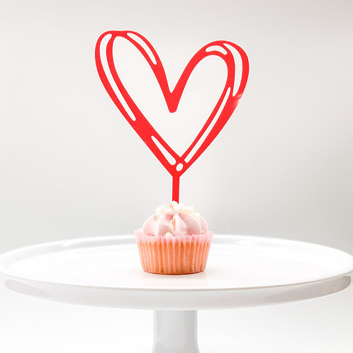 Red heart acrylic cupcake topper