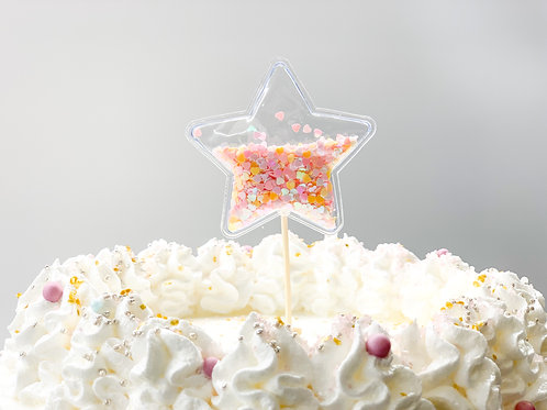 Pink & Orange chunky glitter star cake topper