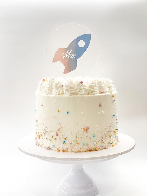 Personalised name rocket cake topper