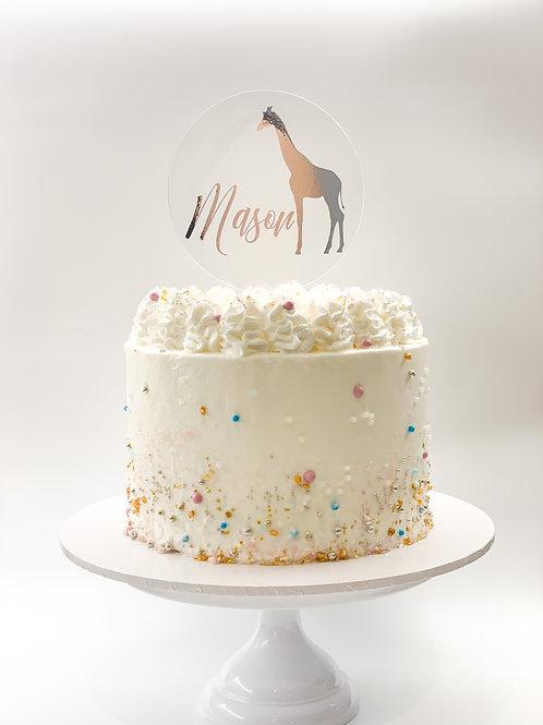 Personalised name Giraffe cake topper