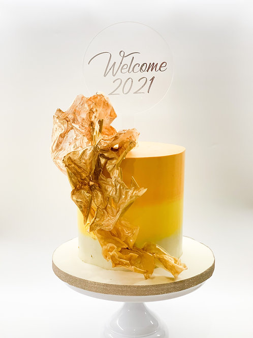 Welcome 2021 acrylic cake topper