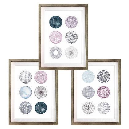 Círculos en morado y gris (3 diseños disponibles) / Desde 20.000 c/u