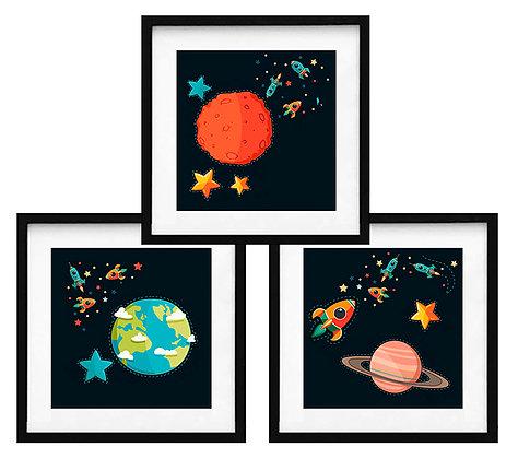 Planetas fondo oscuro (3 diseños disponibles) / Desde 20.000 c/u
