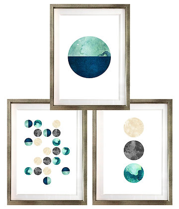 Círculos en turquesa, beige y gris (3 diseños disponibles) / Desde 20.000 c/u
