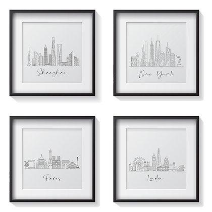 Siluetas ciudades  / Desde 20.000 c/u
