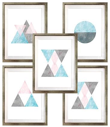 Escandinavos en celeste, gris y rosa (6 diseños disponibles) / Desde 20.000 c/u