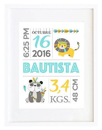 Personalizable nacimiento turquesa y amarillo / Desde 20.000